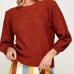 Indigo Faire Diamond Eyelet Sweater