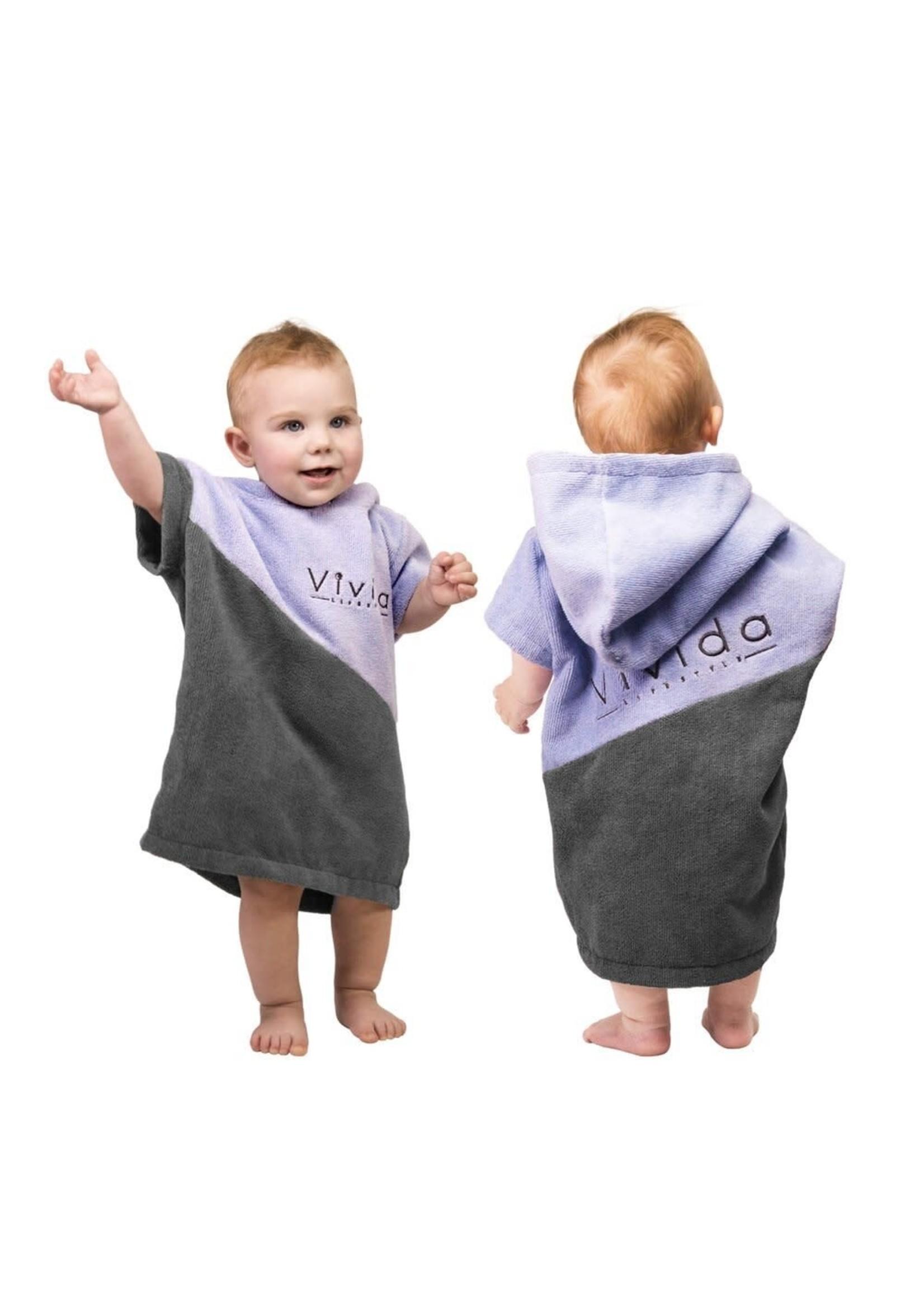 VIVIDA Serviette Poncho Premium pour Bébé / Misty Lilac & Olive Grey