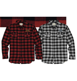 Long Sleeve Plaid Button Leather Patch