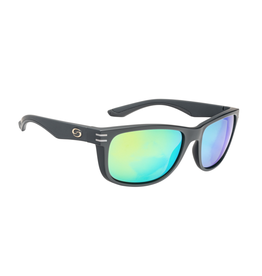 Cumberland Matte Black Green Mirror Polarized Sunglasses