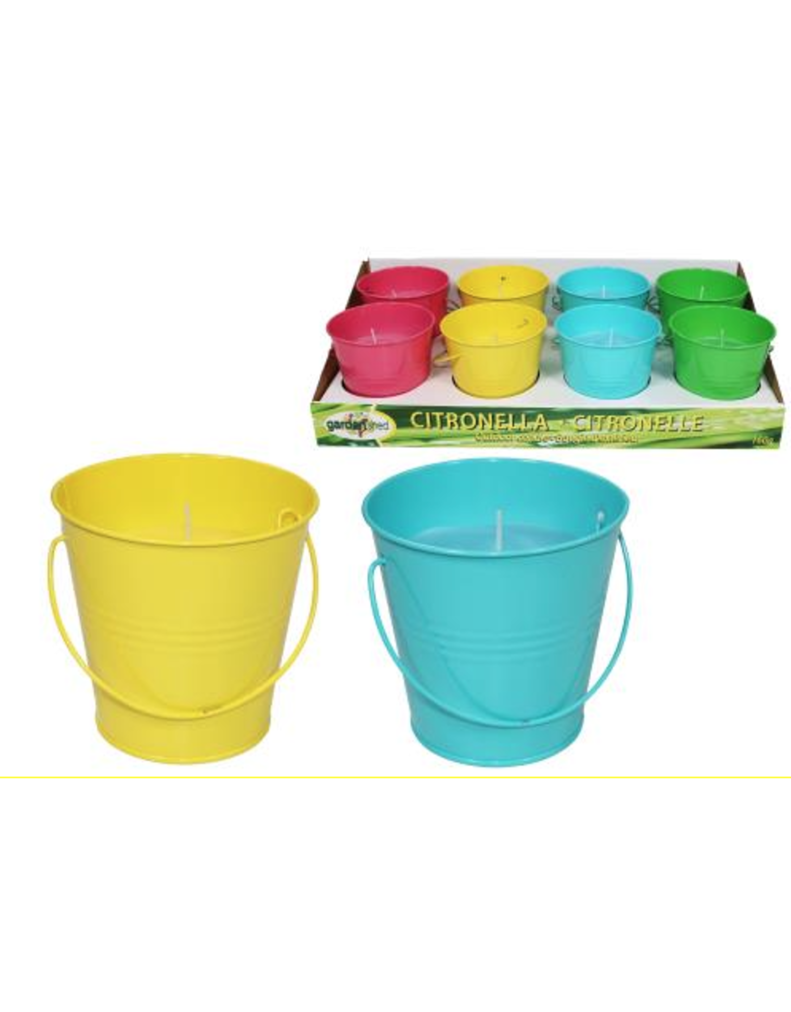 Citronella Candle in Metal Bucket Assorted