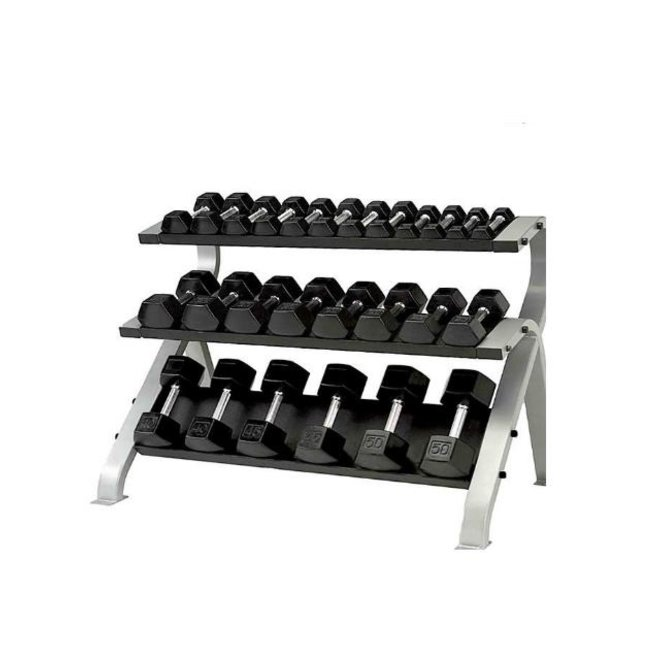 Element 56'' Commercial 3-Tier Flat Dumbbell Rack (Holds 13 pair 3-50lbs)