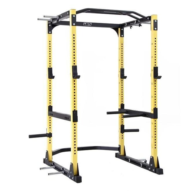Fit505 Yellow Ultra Yellow Power Rack with dip attachment