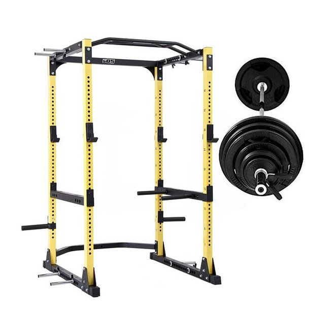 Fit 505 Ultra Rack with 300lbs Rubber Olympic Plate Package including 45lbs 7' Bar