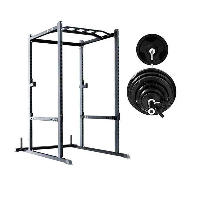 Ironax XP1 Power Rack with 300lbs Rubber Olympic Plate Package including 45lbs 7'  bar