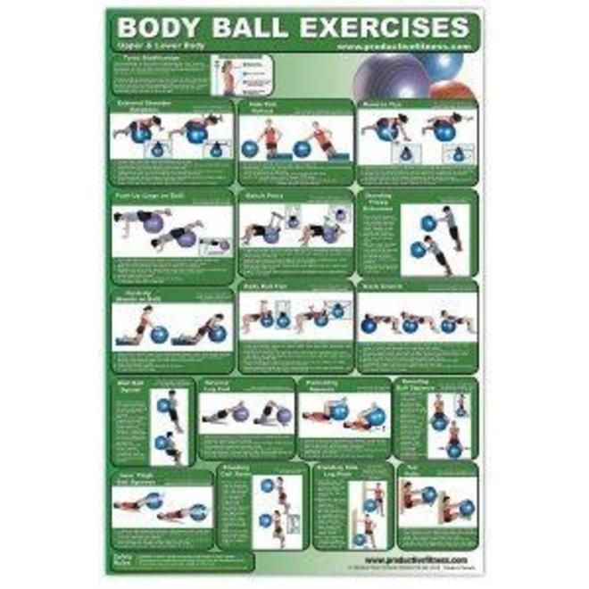 Fitness Poster Body Ball Exercises Upper/Lower Body
