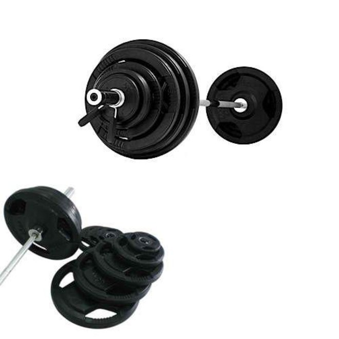 Element 300lbs Virgin Rubber Grip Olympic Plate Kit (2x45,2x35, 2x25,2x10,4x5, 2.2.5lbs w/ 600lbs Oly Tested Bar #1337 w/ Spring Collars