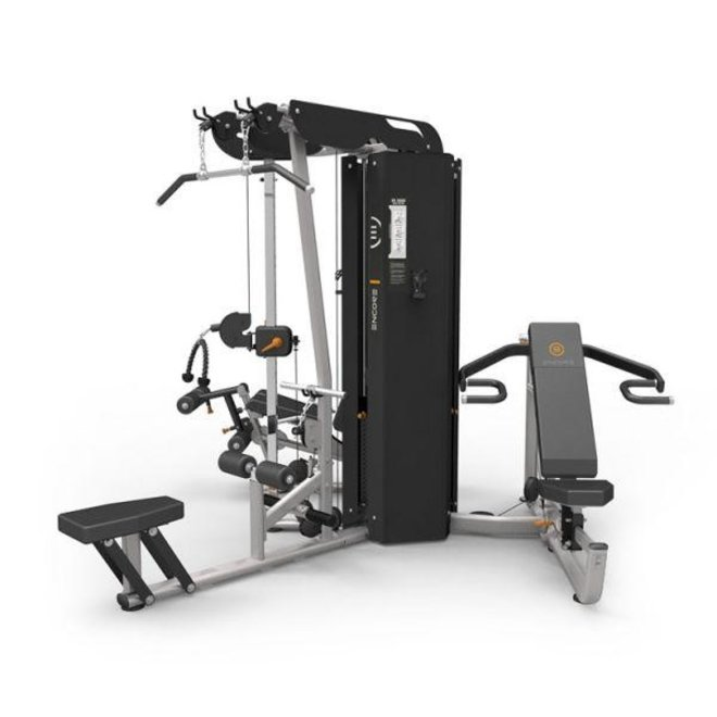 Element Commercial 3 Stack 4 Station Gym (Multi Chest/Shoulder Press, Lat Pulldown/Low Row, Leg Ext/Prone Leg Curl, Adj. High/Low Pulley)