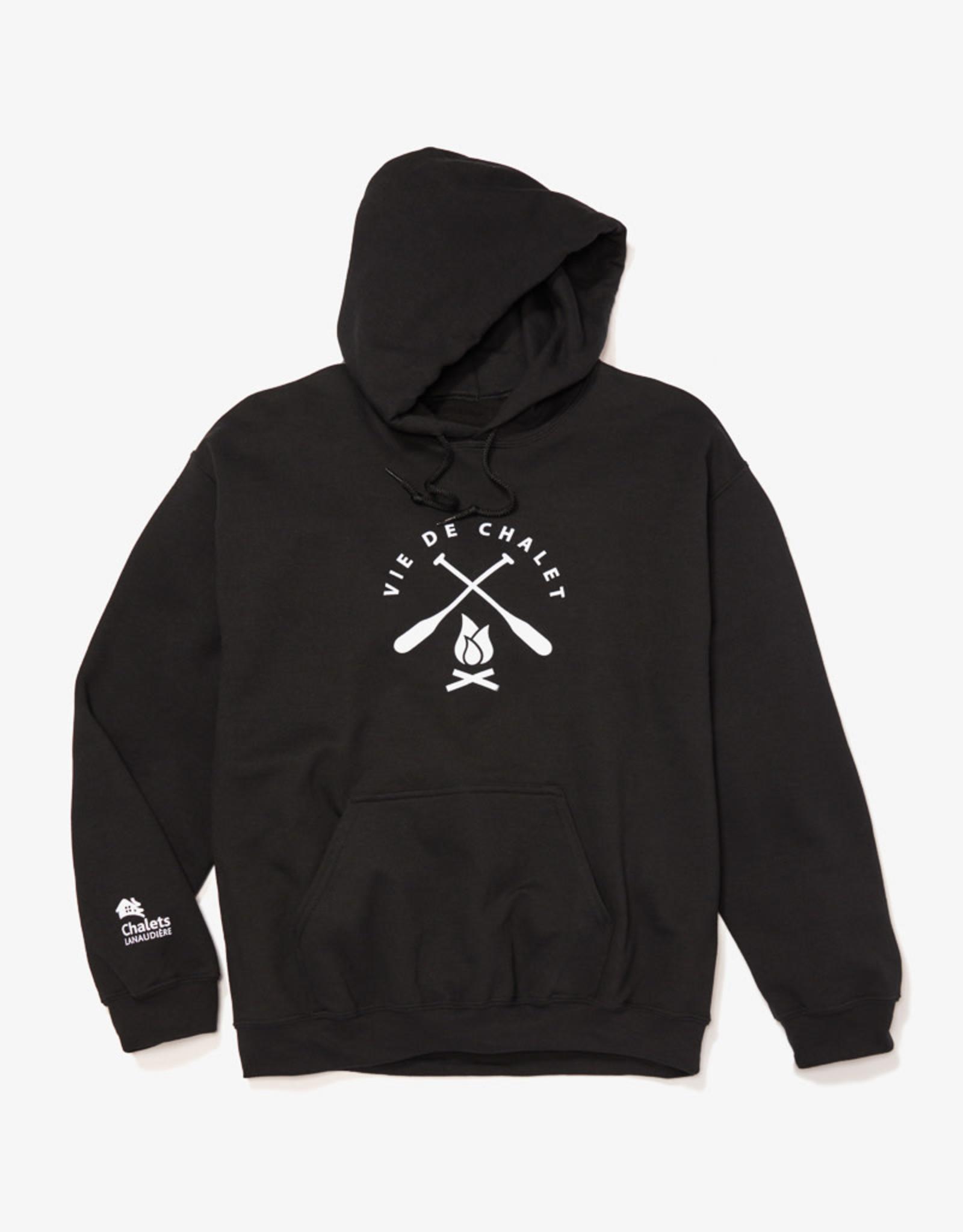 GILDAN Black kangaroo printed sweatshirt for adults