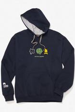 GILDAN Navy blue kangaroo printed sweatshirt for adults