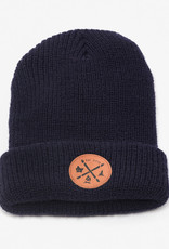 ARSENO Navy blue 100% polyester tuque with printed leather badge