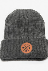 ARSENO Grey 100% polyester tuque with printed leather badge