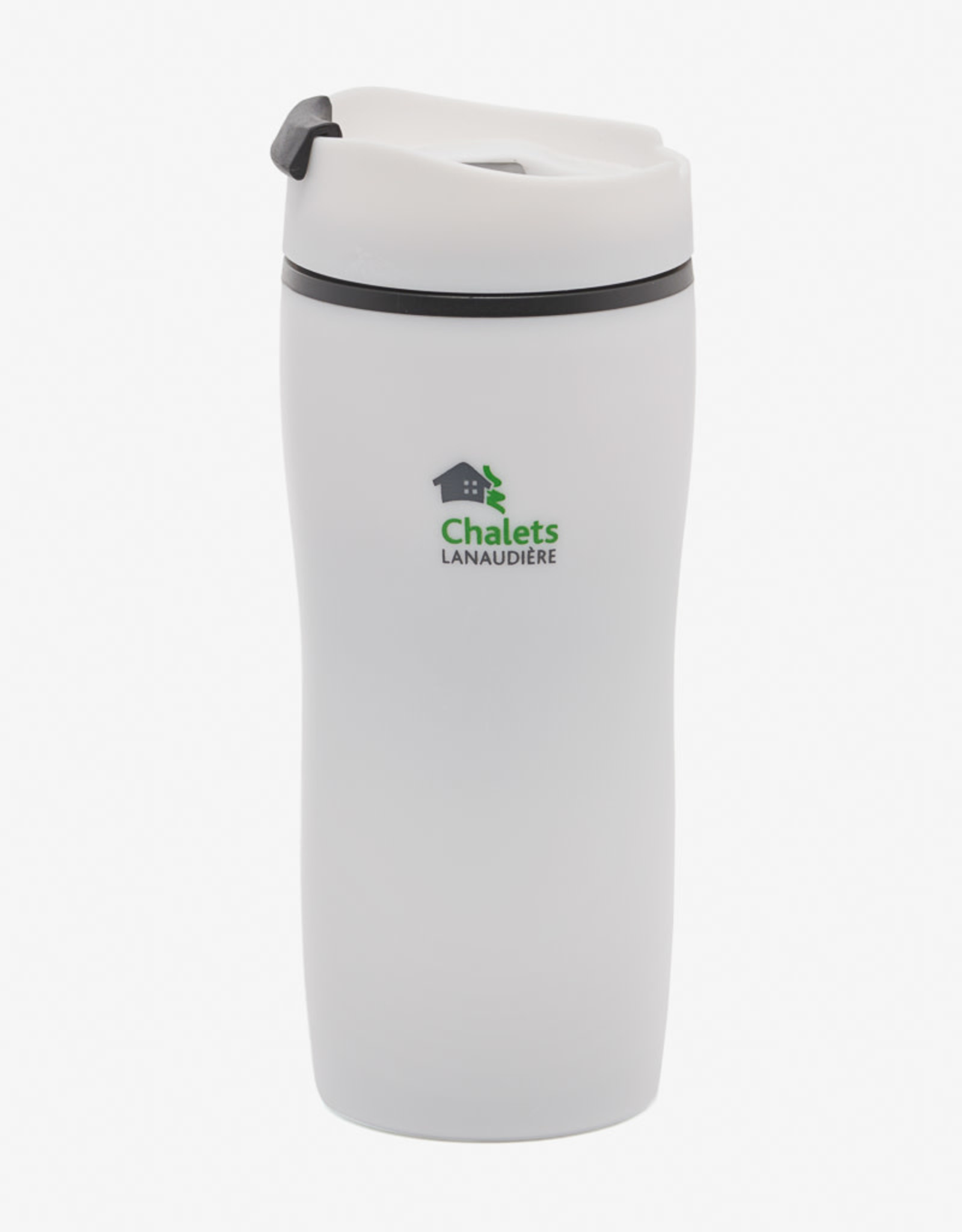 Insulated coffee cup, plastic 20 oz white