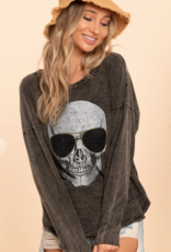 Mineral Dyed Top With Skull