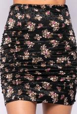 Floral Satin Stretch Skirt