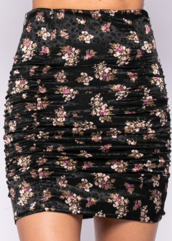 Floral Satin Stretch Skirt