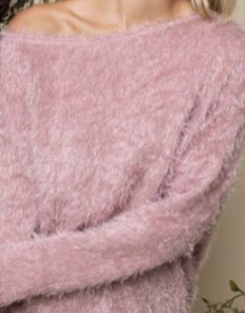 Luna Fuzzy Off Shoulder Sweater