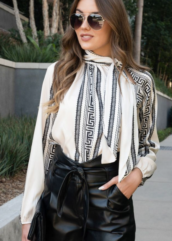 Venti6 Black and White Aztec Tie Blouse