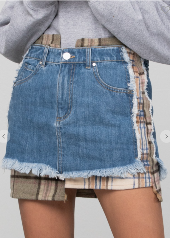 Insane Gene Patchwork Denim Skirt