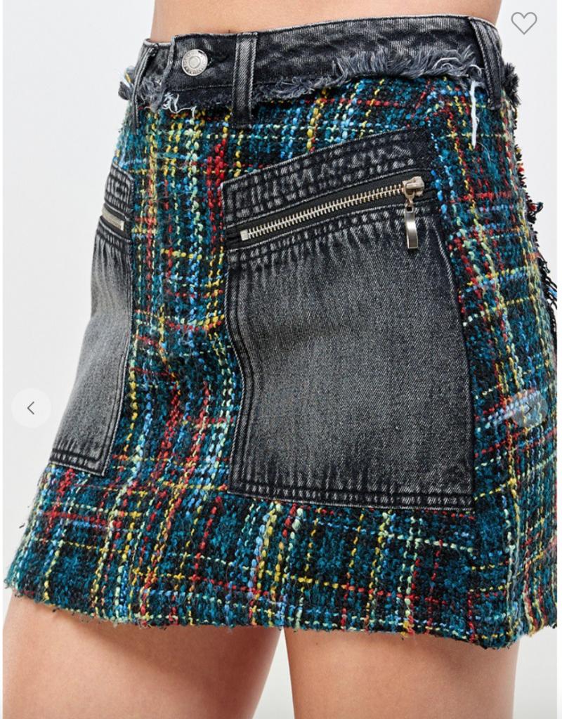 Signature8 Mixed Media Denim and Tweed Skirt