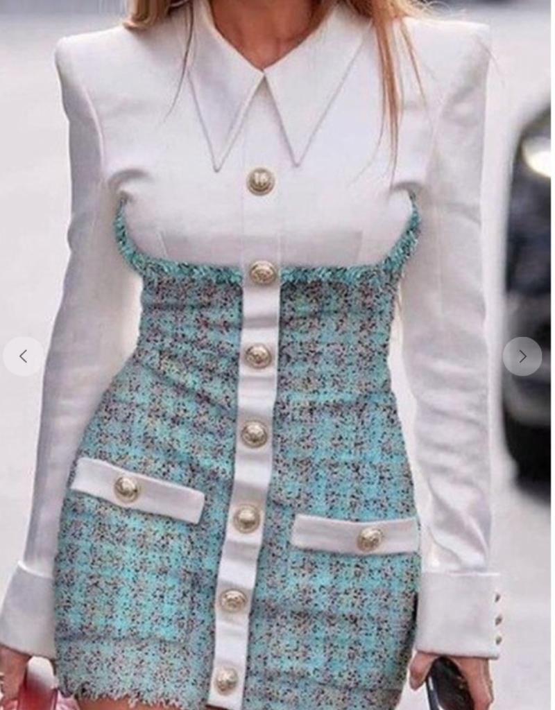 Mixed Media Tweed Collared Dress
