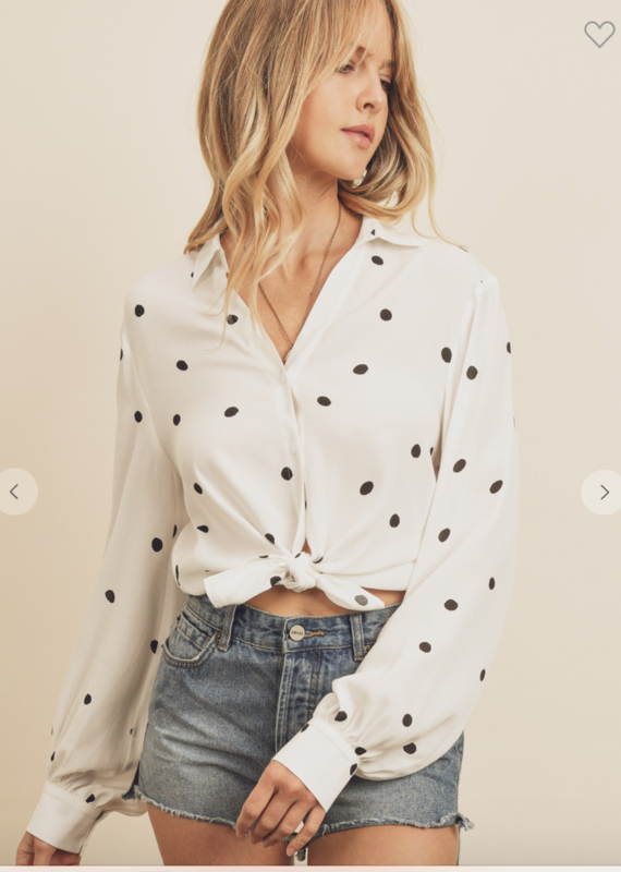 Dress Forum Polka Dot Knotted Button Down