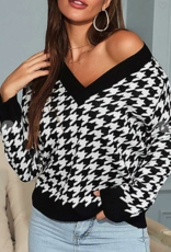 Black and White Geometric Sweater