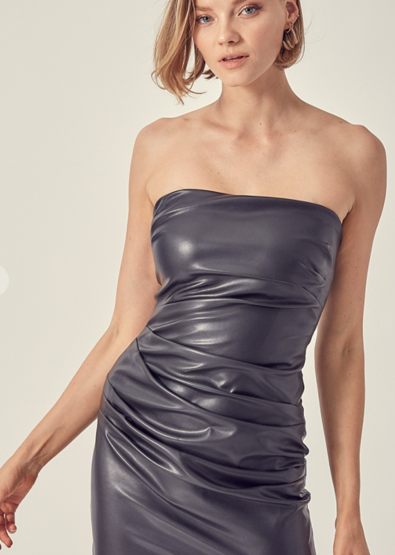 DO + BE Strapless Black Leather Dress