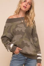 hem & thread Army Green Camo Sweater with Stripe on Sleeve