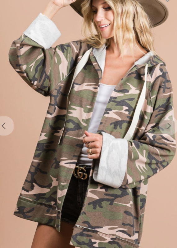 BiBi Camo Cardigan with Hood