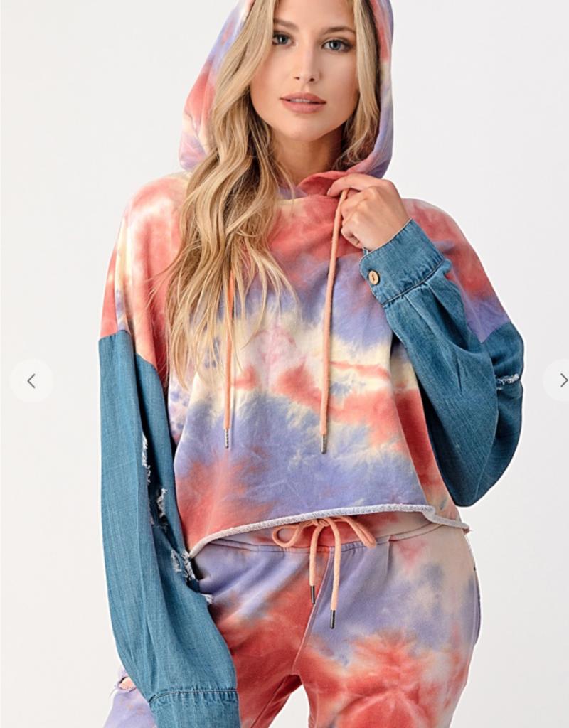Dance & Marvel Oversized drawstring hoodie Denim Sleeve AT0162-1