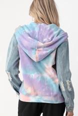 Dance & Marvel Tie-Dye Zip Up with Denim Sleeves  dmt0707-1