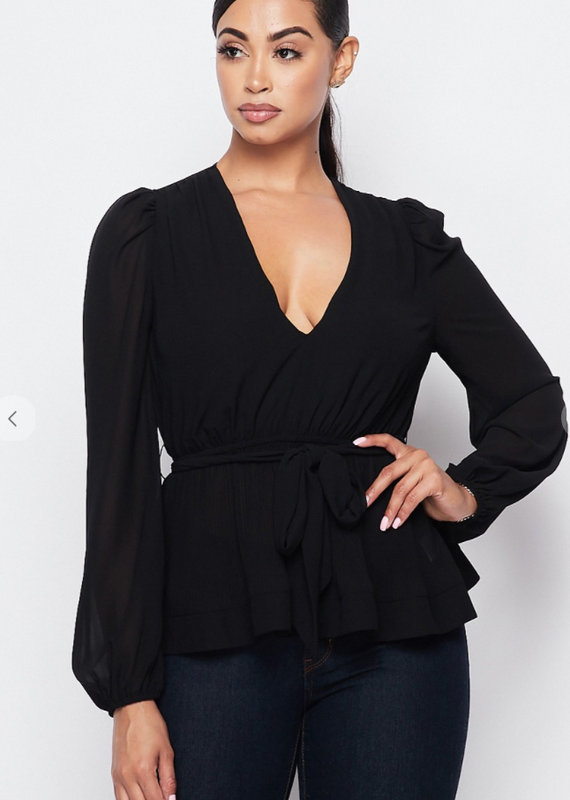Privy Deep V-Neck Chiffon Blouse with Ribbon Detail