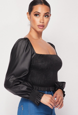 FAUX LEATHER LONG SLEEVE SMOCKED TOP  PT40483S-A