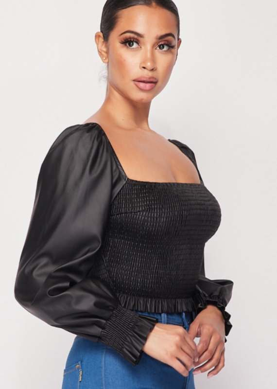 FAUX LEATHER LONG SLEEVE SMOCKED TOP