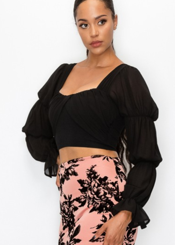 Privy Tiered Ruffle Sleeves Chiffon Cropped Blouse