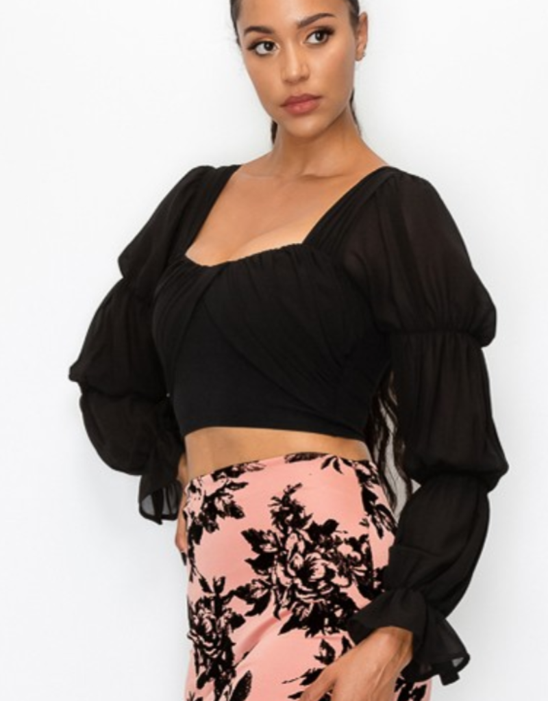 Privy Tiered Ruffle Sleeves Chiffon Cropped Blouse PT40568S-A
