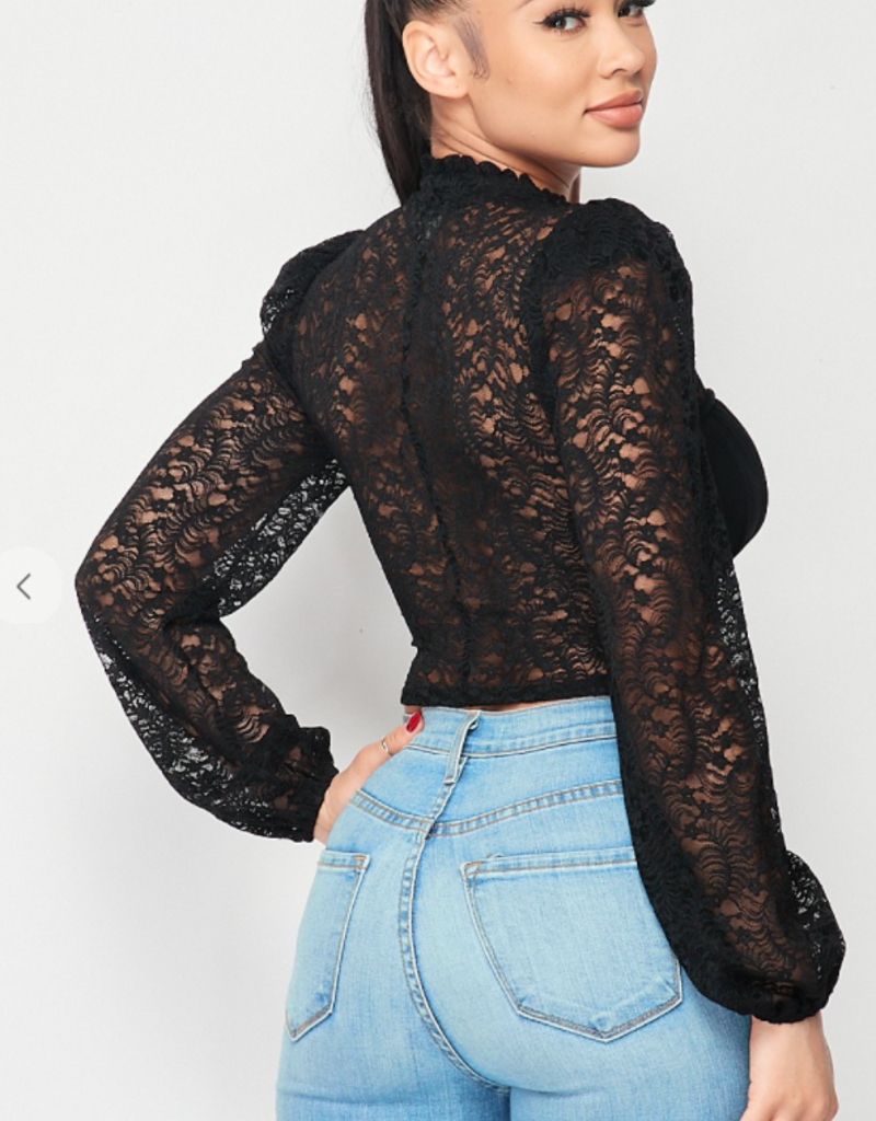 Privy PT40694S-A  SEXY LACE V-NECK POWER SHOULDER CROPPED TOP
