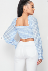 Privy PT40725S-A CHECKERED PATTERN RUCHED AND RUFFLED CROPPED TOP