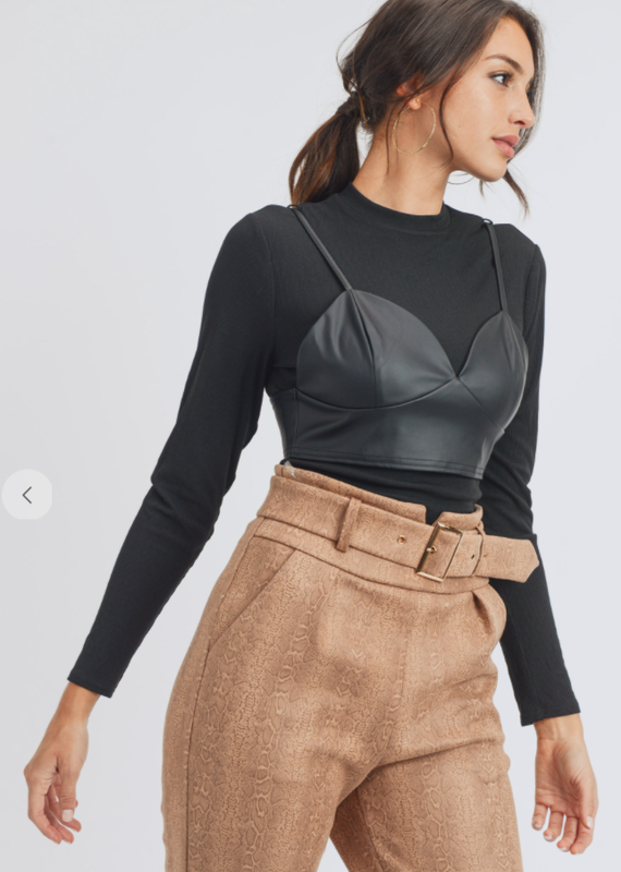 Privy Faux Leather Cami and Long Sleeve Layered Top
