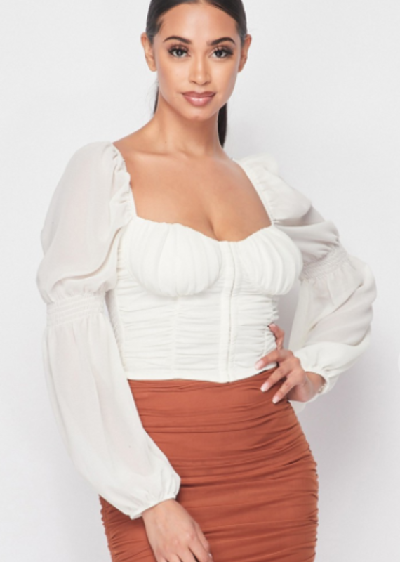 Privy RUCHED BELL SLEEVED TOP WITH SMOCKED BACK TOP