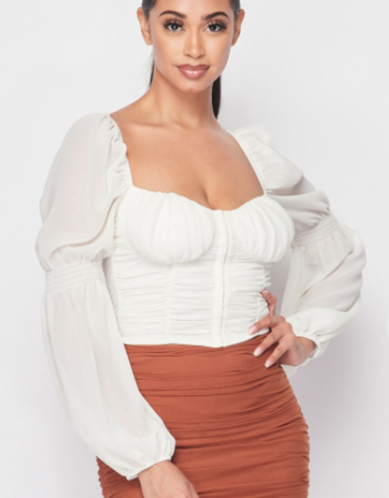 Privy PT40714N-a  RUCHED BELL SLEEVED TOP WITH SMOCKED BACK TOP