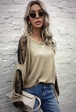 L. Michele 4303 Lace cold shoulder Top