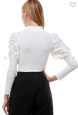 AAAAA 11O01-07 Ribbed bodysuit mock neck ruched sleeves