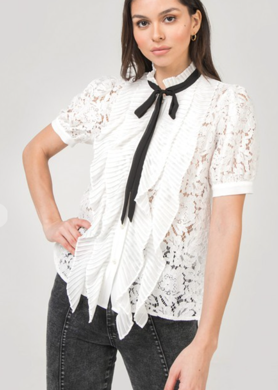 AAAAA Lace, button up  Top with front ruffle