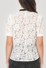 AAAAA 105O01-06 Lace, button up  Top with front ruffle