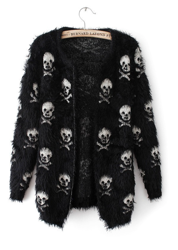 L. Michele Fuzzy Soft Skull Sweater