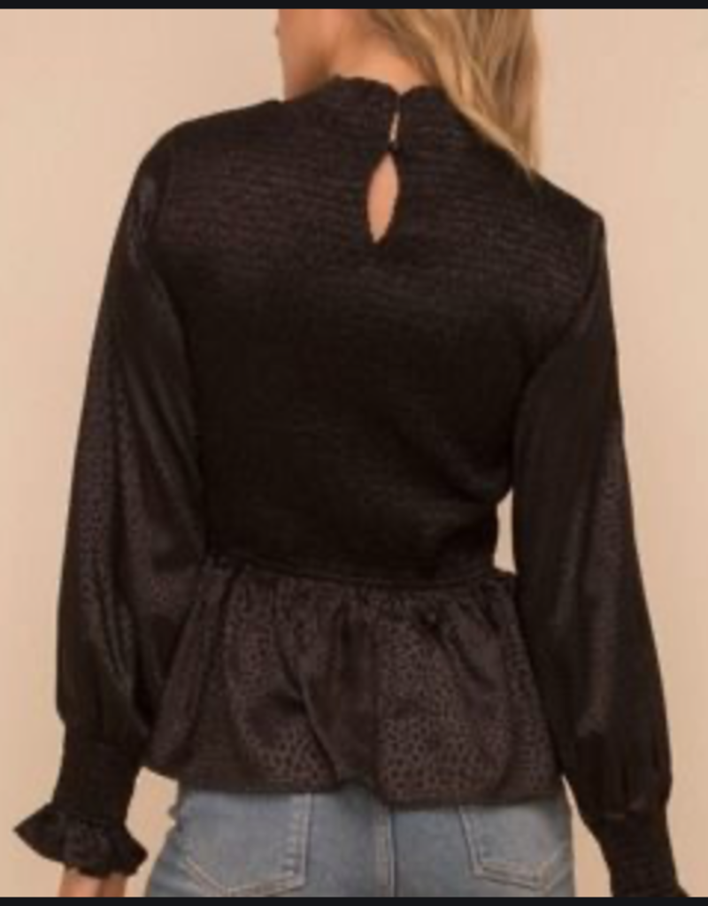 hem & thread Black Animal Print Blouse