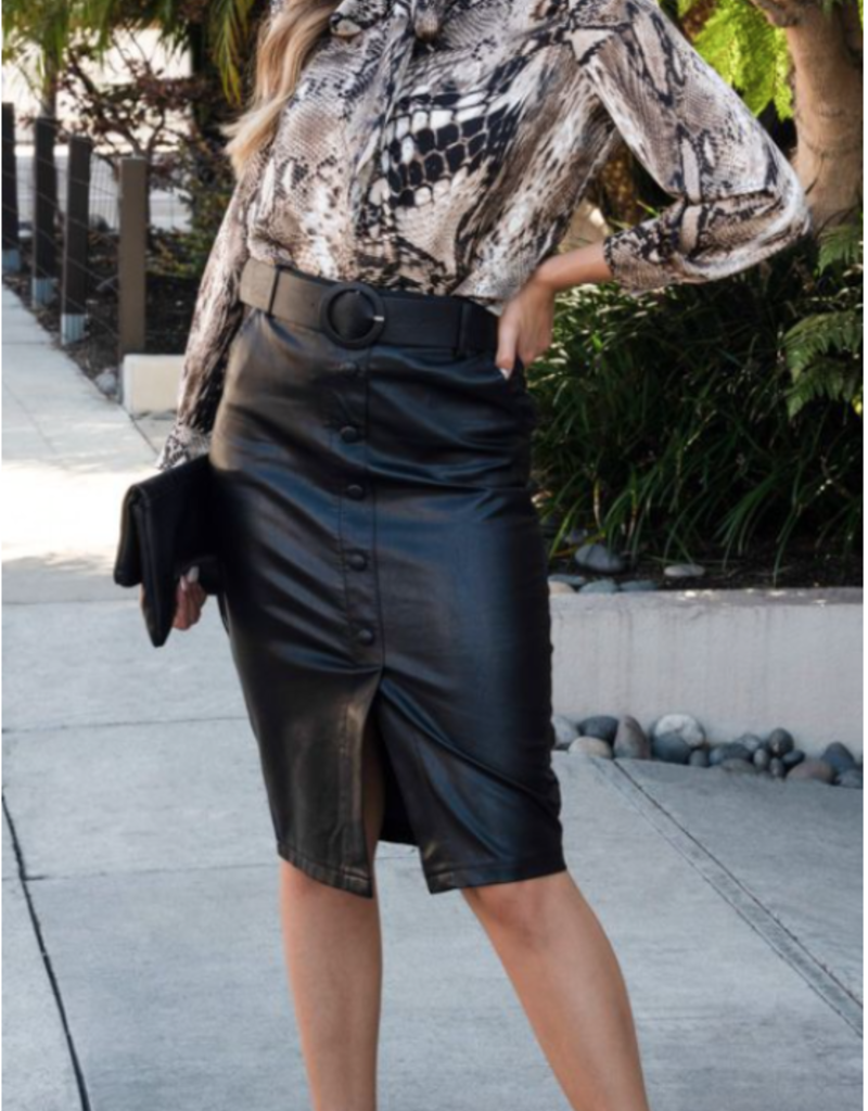 Venti6 Knee Length Leather Skirt With Belt