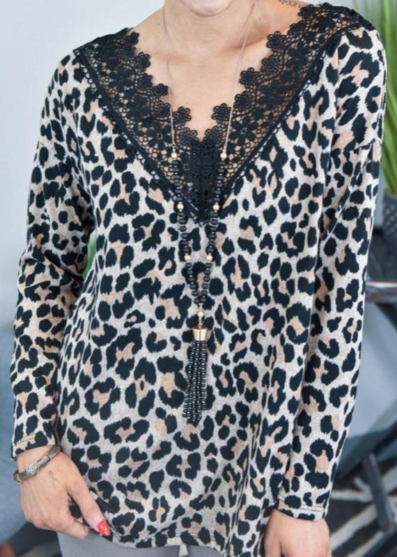 BiBi Cheetah Lace Blouse